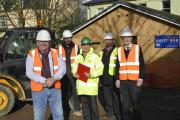 Coun Bill Randall with David Sinden, site manager, Stephen Toomey, architect, Sam Smith, council, and Steve Smith, director, at a newbuild project in Preston Road, Brighton