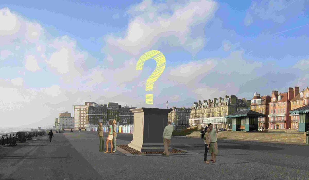 An illustration of where the plinth will be situated on Hove seafront