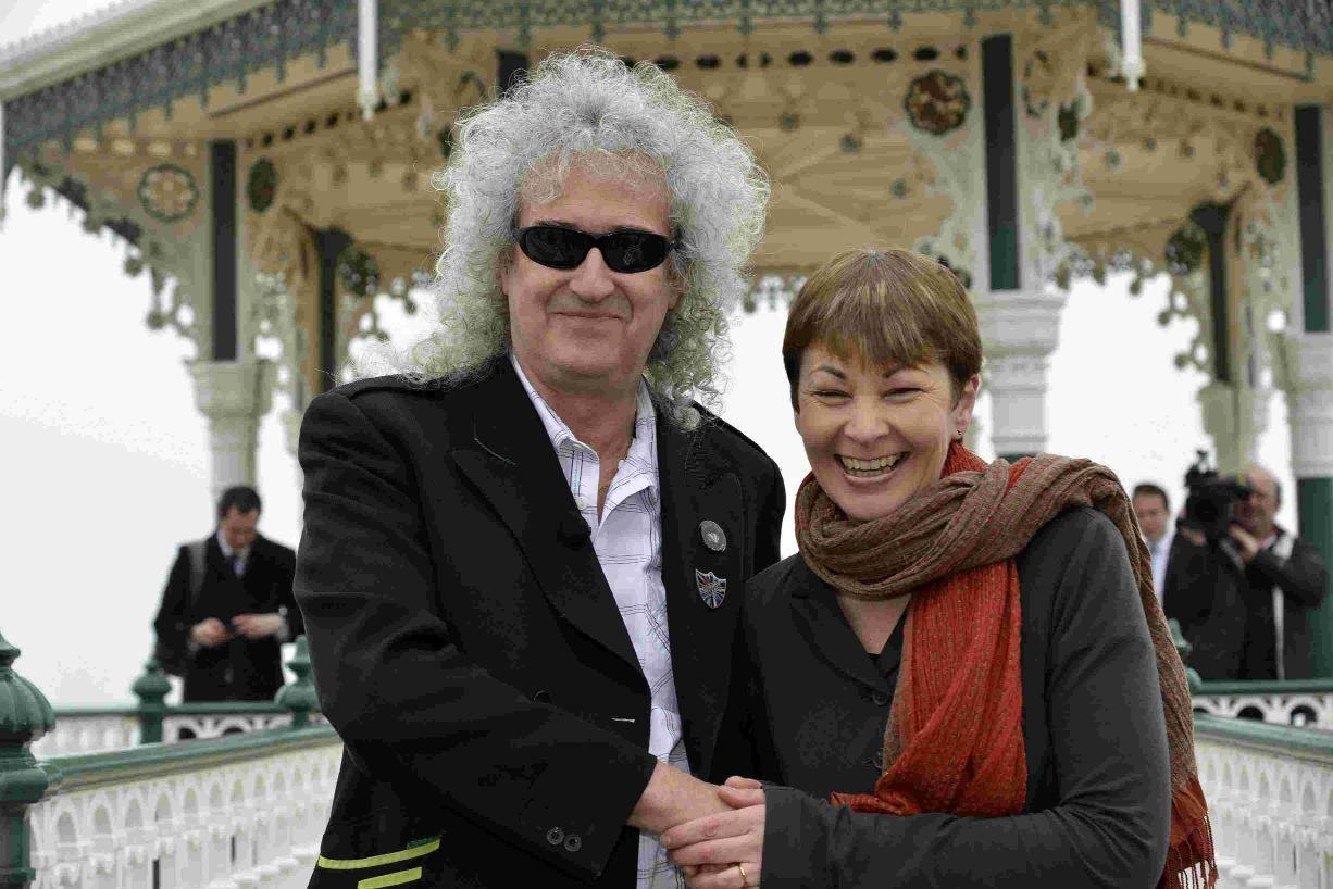 Queen guitarist Brian May with Caroline Lucas MP