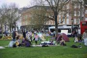 A protest camp against homelessness and the number of buildings that are left empty in the UK, at the Steine in the centre of Brighton
