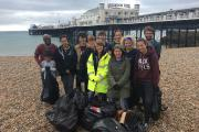 Volunteers clear rubbish from beach