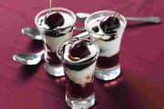 Healthy treats, cherry and chocolate dessert pots