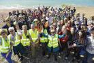 The beach clean-up by mainly Marks and Spencer staff on Hove beaches starting from King Alfred Leisure Centre
