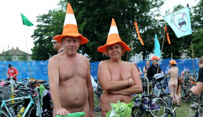 Two of the participants of the Brighton Naked Bike Ride Glen and Cyndi. Picture: Liz Finlayson