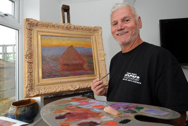 David Henty at work on his version of Monet's Haystacks.  Picture: Liz Finlayson