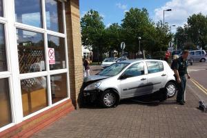 Two cars crash in hospital car park
