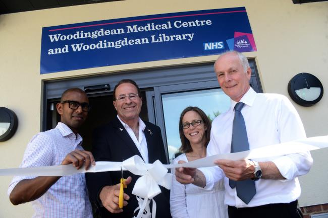 The opening of Woodingdean centre with library and health centre with author Peter James and surgery heads Darren Emilianos, Janet Wilson and Peter Sagar in July last year.