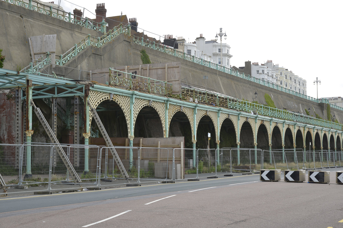 The arches in Madeira Terrace are fenced off