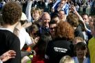 Russell Slade is mobbed after completing the Great Escape
