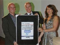 Mark Walker, The Argus Editor Michael Beard and Tara Solesbury