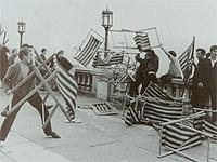 Mods bombard Rockers with deck chairs on Sun Terrace, Brighton in May, 1964
