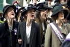 Anne Marie-Duff, Carey Mulligan and Helena Bonham Carter take to the streets in Suffragette...