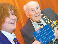 Henry Allingham. 110, has recorded a podcast with pupils at Hazelwick School in Three Bridges