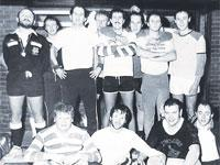 Wyn Harness, back row far right, pictured in 1984 with colleagues from The Argus football team