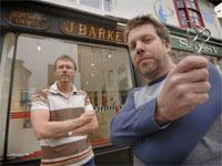 Dave Banks (left) and Rob Anderson in front of Trafalgar Barbers