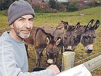 Steve Hamilton of the centre with some of the donkeys