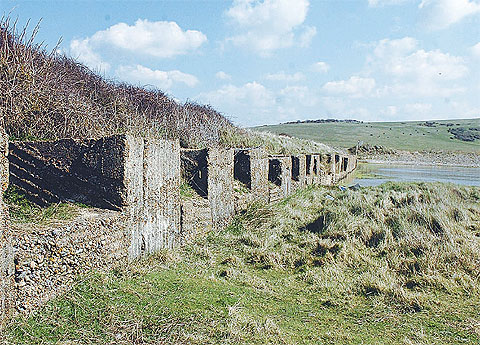 Historical artefacts like these tank traps at Cuckmere Haven could be put at risk by the Environment Agency's plan