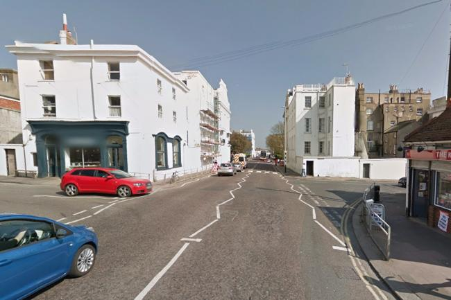 The robbery happened at the junction of Eastern Road and Rock Street in Brighton