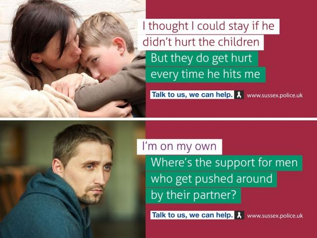 Two of the posters being used in the domestic abuse campaign