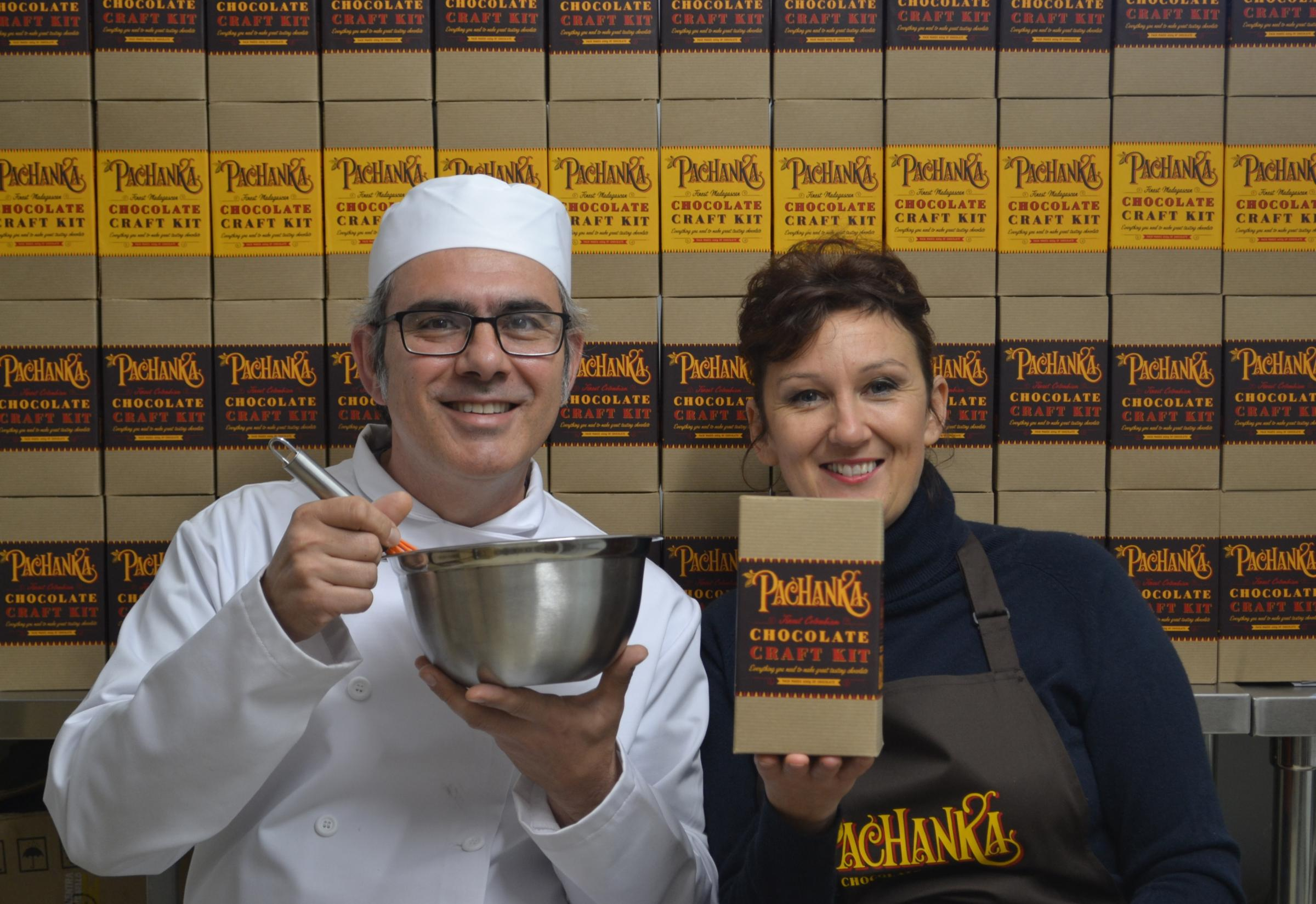 Suzanne James and Carlos Mendez with their new Pachanka Chocolate Craft Kit/Picture: Oiana James