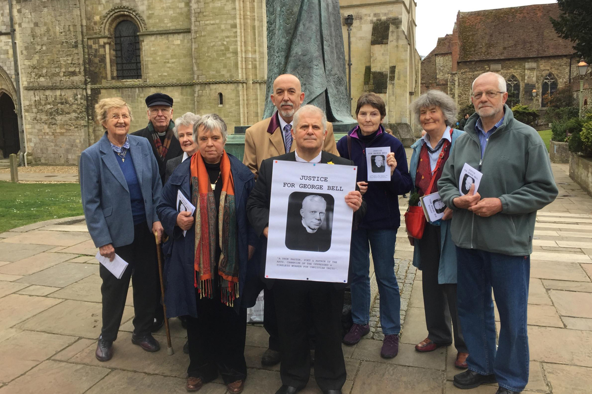 The protesters gathered outside Chichester Cathedral on Sunday