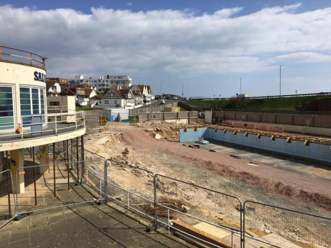 Work continues on Saltdean Lido but its pool will now not open until next Easter.