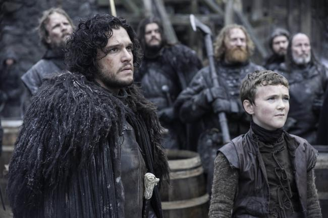 Brenock O'Connor as Olly with Kit Harington as Jon Snow in Game Of Thrones.  Picture: HBO Enterprises