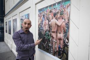 Danny Fitzpatrick with his Brighton Naked Bike Ride image. Picture: Ian Stratton