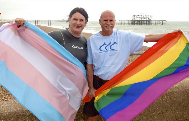 Transgender ambassador Sophie Cook, pictured left, with Brighton and Hove Triathlon race director John Lunt