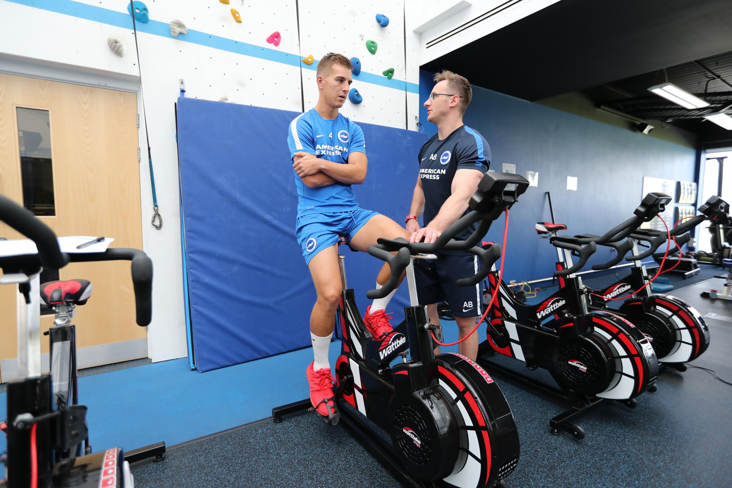 Uwe Huenemeier, talking to physio Adam Brett as the Albion players reported back from their summer break this morning. Picture Paul Hazlewood