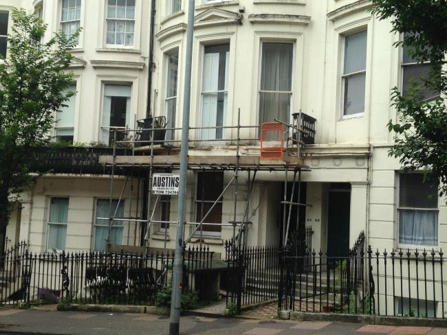 A balcony collapsed in Montpelier Road, Brighton, on Friday night, injuring four