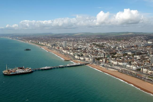 An aerial shot of Brighton