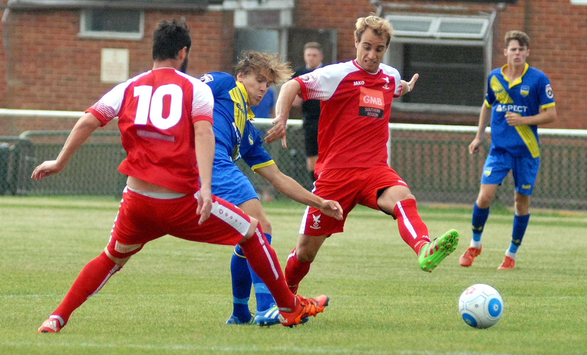 Javier Favarel in action for Whitehawk early in the season. Picture by David Pillman