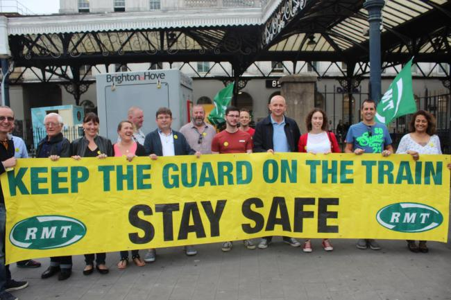 An RMT picket line at Brighton Railway Station earlier this month.  Picture: André Rhoden-Paul