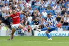 Anthony Knockaert fires in a shot against Barnsley at the Amex on Saturday