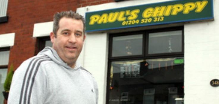 Paul Moulden outside his Bolton chip shop - still the last Albion man to score at home to Preston
