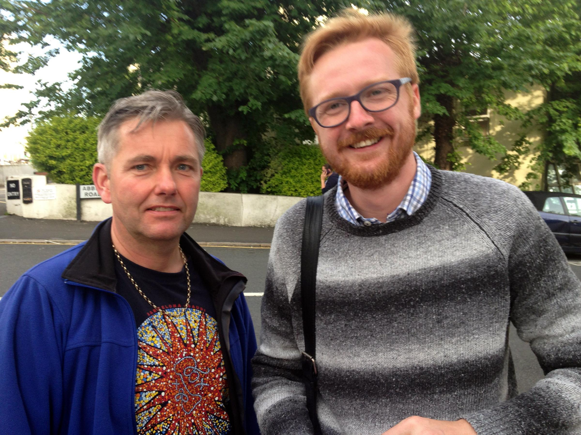 Chairman-elect of the Brighton Hove and District Labour Party Mark Sandell, 50, (L), with former Chair and current Brighton and Hove City Councillor Lloyd Russell-Moyle. ..Picture: Joel Adams..
