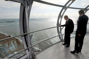 The Duke of Edinburgh on a flight in the i360 today Picture: Press Association.