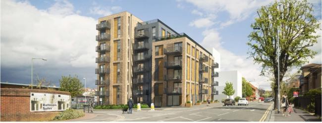 An artist's impression of Crest Nicholsonâs planned 47 flat complex in Davidgor Road, Hove