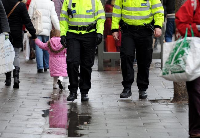 Police carrying out high visibility patrols in London Road, Brighton
