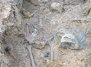 The skeleton was found surrounded by burial pots suggesting wealth