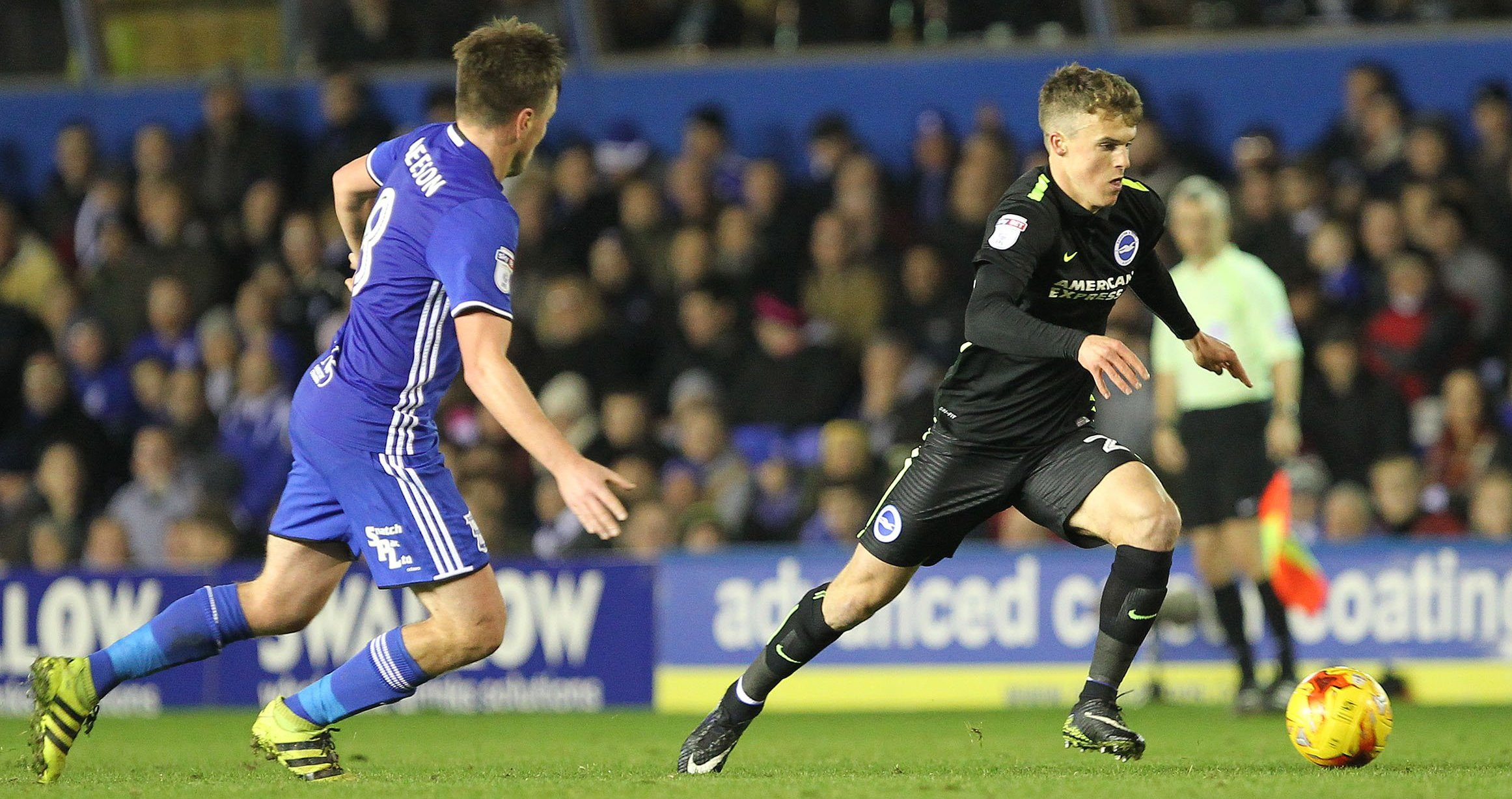 Solly March glides past defenders at Birmingham recently. Picture by Richard Parkes