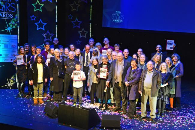 Some of the winners on stage at the end of The Argus Community Stars Awards ceremony at the Theatre Royal, Brighton.  Picture: Susannah Binney