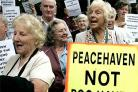 Crowds of protesters from Peacehaven gathered outside County Hall in Lewes to voice their anger over the sewage plant