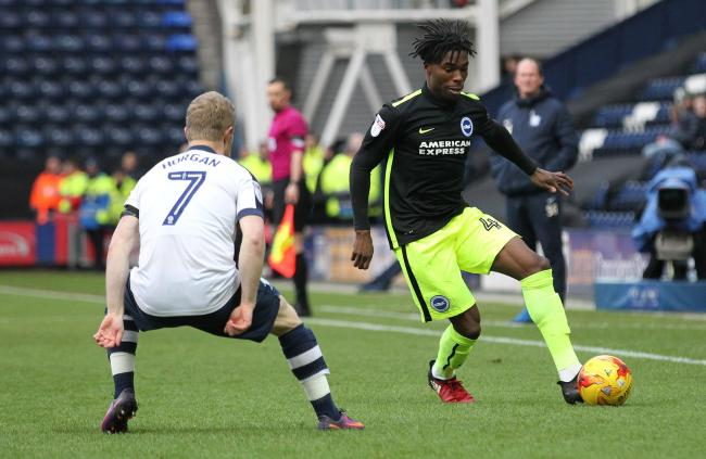 Sam Adekugbe in action against Preston on his Championship debut on Saturday