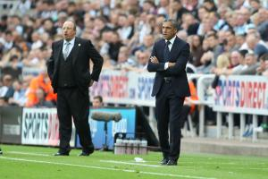 Chris Hughton and Rafa Benitez (left) have been in touch