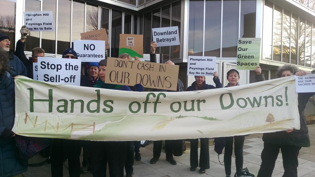 Downs campaigners outside Hove Town Hall this afternoon.