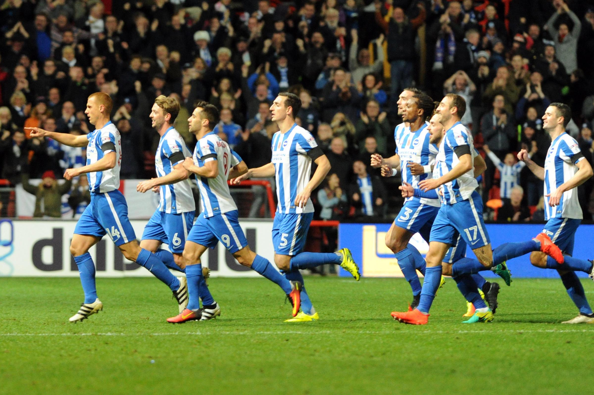 Steve Sidwell (far left) dedicated the best goal of his career to team-mate Anthony Knockaert