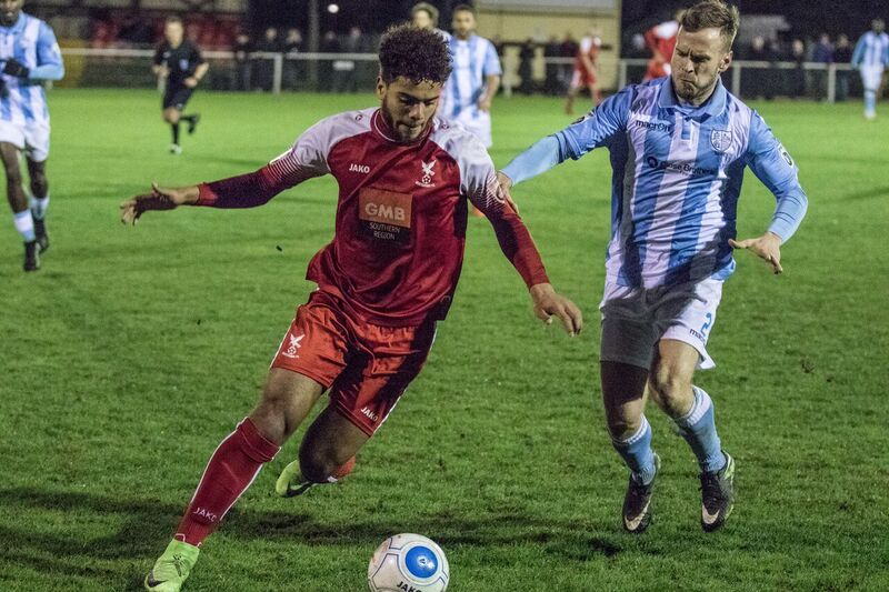 Josh Passley on the ball for Whitehawk against Hampton and Richmond last night. Picture by David Hunt