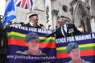 Supporters outside the Royal Courts of Justice before the sentencing of Royal Marine Alexander Blackman